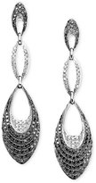 Macy's 14k White Gold Earrings, Black and White Diamond Triple Drop (2 ct. t.w.)
