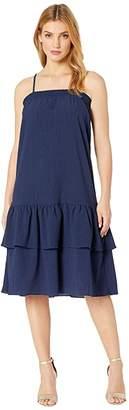 MICHAEL Michael Kors Solid Smock Neck Midi Dress (True Navy) Women's Clothing