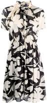 Calvin Klein ruffled collar floral print dress