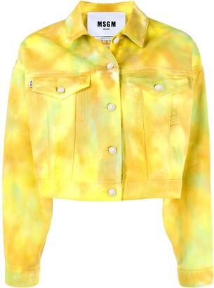 MSGM Tie-Dye Cropped Denim Jacket