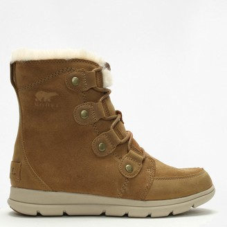 Sorel Explorer Joan Camel Brown & Ancient Fossil Leather & Suede Ankle Boots