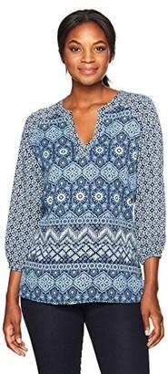Margaritaville Women's 3/4 Sleeve Mixed Batik Print Tunic