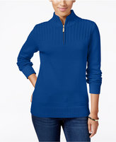 Karen Scott Ribbed Zip-Neck Sweater, Only at Macy's