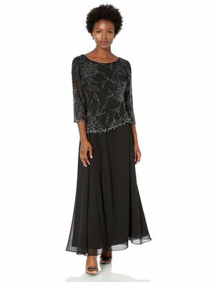 J Kara Women's Petite 3/4 Sleeve Beaded Dress