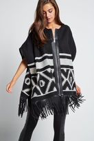 BCBGeneration Zip-up Geo Print Poncho - Black