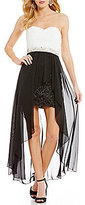 Xtraordinary Strapless Color Block Lace Body Beaded High-Low Dress