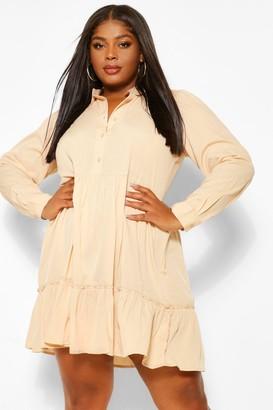 boohoo Plus Tiered Ruffle Smock Shirt Dress