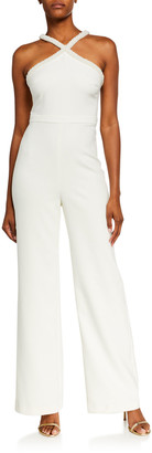LIKELY Ashland Beaded Pearl Trim X Halter Jumpsuit