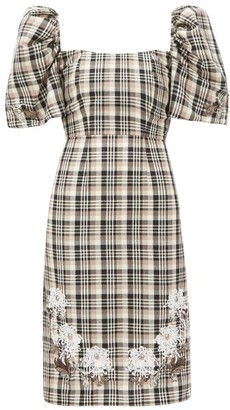 Edward Crutchley Checked Roll-neck Puff-sleeve Wool Dress - Brown Multi