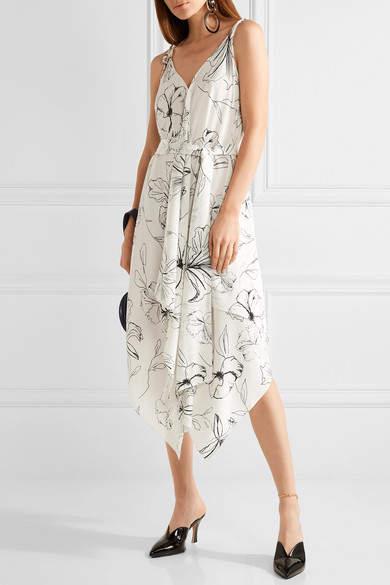 Diane von Furstenberg Asymmetric Printed Silk Crepe De Chine Midi Dress - Ivory