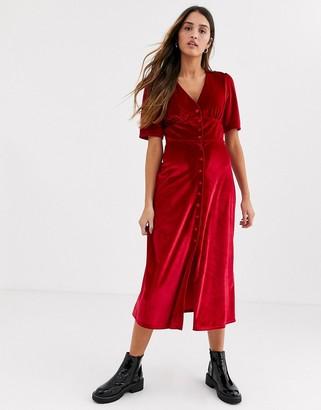 Nobody's Child button front midi tea dress in red velvet