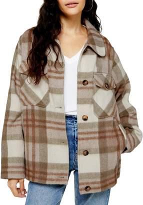 Topshop Check Wool-Blend Jacket
