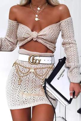 I SAW IT FIRST Stone Off The Shoulder Crochet Tie Top