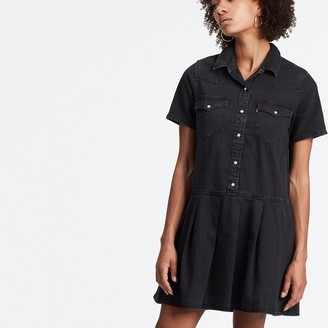 Levi's Pleated Denim Shirt Dress with Short Sleeves