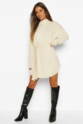 boohoo Petite Roll Neck Curve Hem Jumper Dress