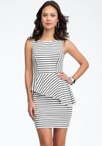 Thumbnail for your product : Bebe Asymmetric Stripe Peplum Dress