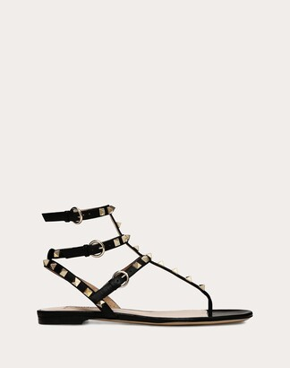 Valentino Rockstud Calfskin Flat Flip-flop Sandal Women Black Lambskin 20%, Metallic Fiber 10% 36