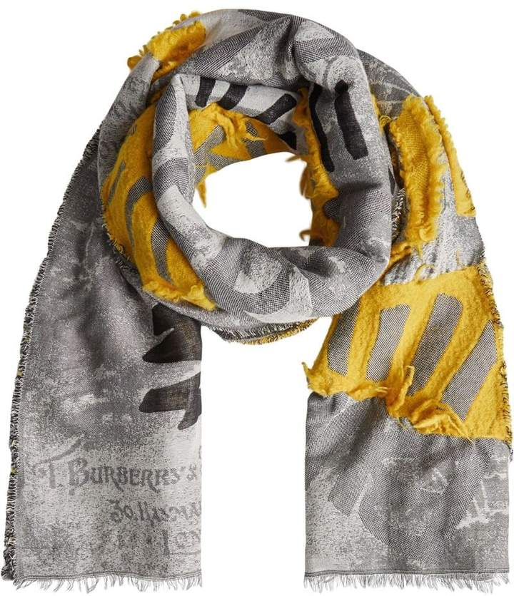 Burberry Graffiti Print Fil Coupé Cotton Wool Modal Scarf