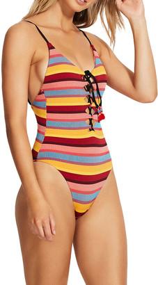 Seafolly Stripe V-Neck Tassel Trim One-Piece Swimsuit