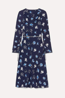 Marni Floral-print Stretch-crepe Dress - Navy