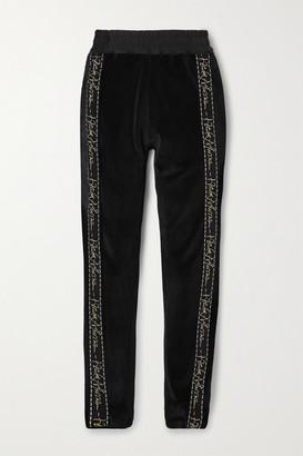 Haider Ackermann Embroidered Grosgrain-trimmed Cotton-blend Velvet Track Pants - Black