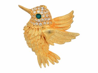 """Kenneth Jay Lane 1.5"""" Humming-Bird Pin Gold/Crystals/Emerald One Size"""