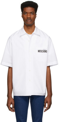 Moschino White Half-Sleeve Logo Shirt