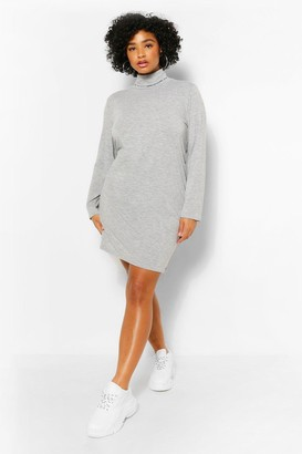 boohoo Plus Roll Neck Jersey Shift Dress