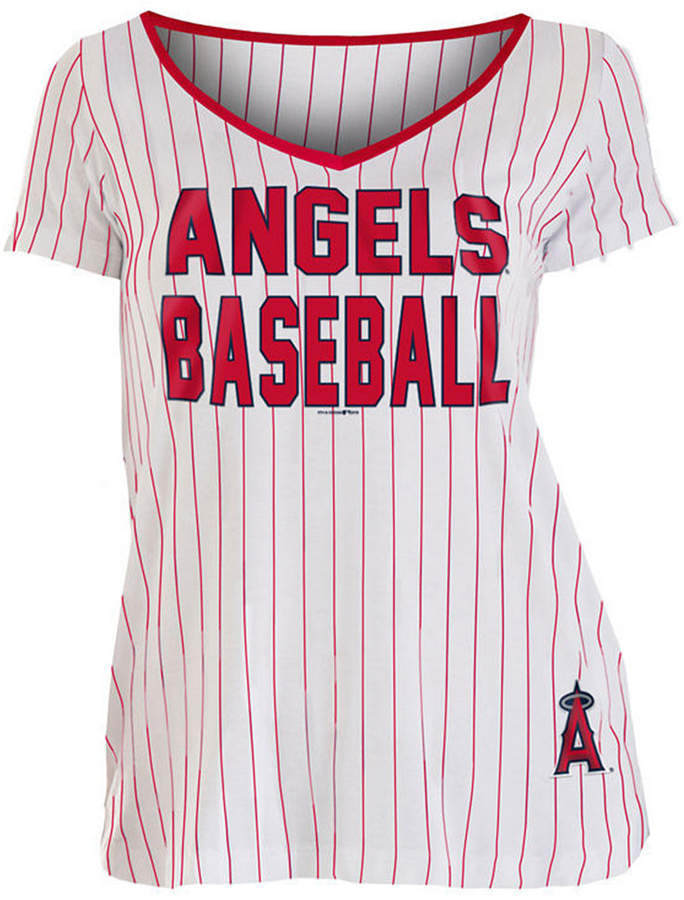 5th & Ocean Women Los Angeles Angels Pinstripe V-Neck T-Shirt