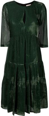Black Coral pleated dress
