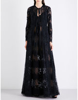 Elie Saab Floral lace-panel gown