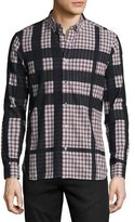 Burberry Haybury Long-Sleeve Check Shirt, Burgundy Red
