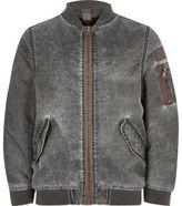 River Island Boys grey acid wash bomber jacket