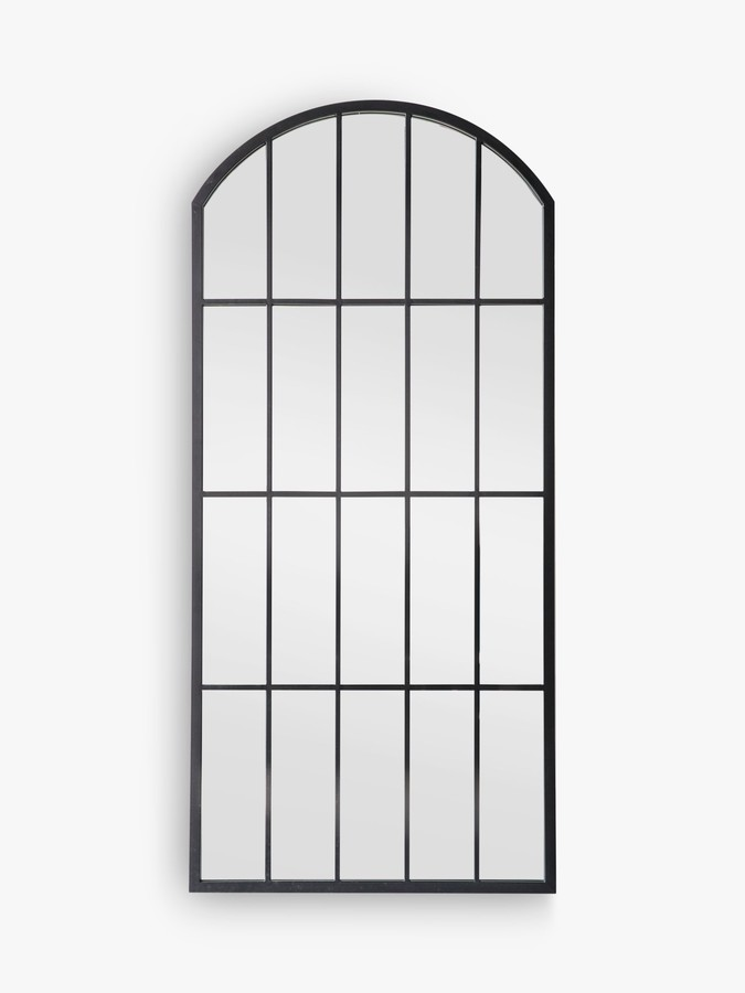 John Lewis & Partners Modern Arch Window Metal Frame Outdoor Wall Mirror, 139 x 64cm, Black