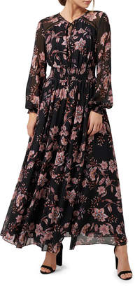Ever New Floral-Printed Long-Sleeve Smock-Waist Maxi Dress