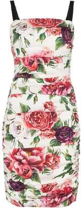Dolce & Gabbana sleeveless peony print cotton gathered dress