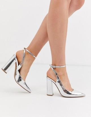 Asos Design DESIGN Pace high block heels in silver