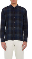 Officine Generale Men's Checked Slub-Weave Shirt-GREY