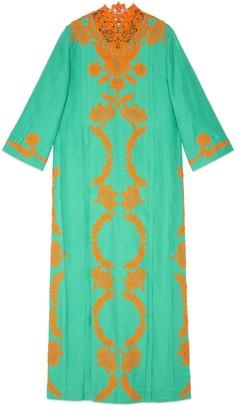Gucci Linen long kaftan dress with lace