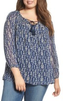 Lucky Brand Plus Size Women's Embroidered Peasant Top