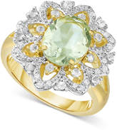 Victoria Townsend Green Amethyst (2-2/5 ct. t.w.) and White Topaz Accent (1/4 ct. t.w.) Ring in 18k Gold-Plated Sterling Silver