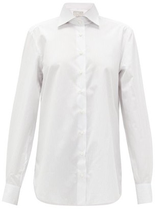 Giuliva Heritage Collection The Husband Pinstripe-jacquard Cotton Shirt - Womens - Ivory Multi