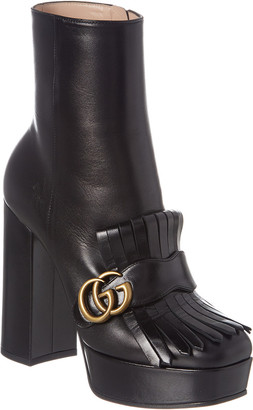 Gucci Fringe Leather Platform Ankle Boot