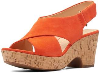 Clarks Maritsa Lara Wide Fit Wedges - Orange