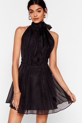 Nasty Gal Womens Put a Bow on It Halter Mini Dress - Black - L