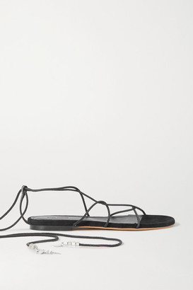 Isabel Marant Jindia Bead-embellished Leather And Suede Sandals - Black