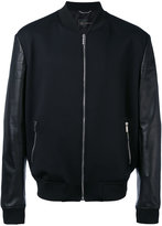 Versace leather-panelled bomber jacket