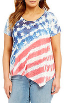Moa Moa Plus Asymmetrical Hem Short-Sleeve Flag Tee