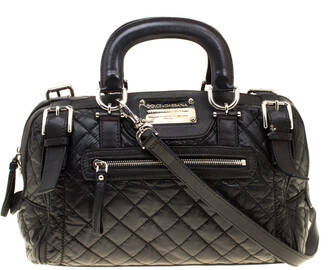 Dolce & Gabbana Black Nylon and Leather Miss Easy Way Top Handle Bag