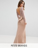 City Goddess Petite Fishtail Maxi Dress With Lace Sleeves And Bow Back
